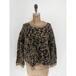 Madewell Crewneck Pullover Sweater in Leopard NEW